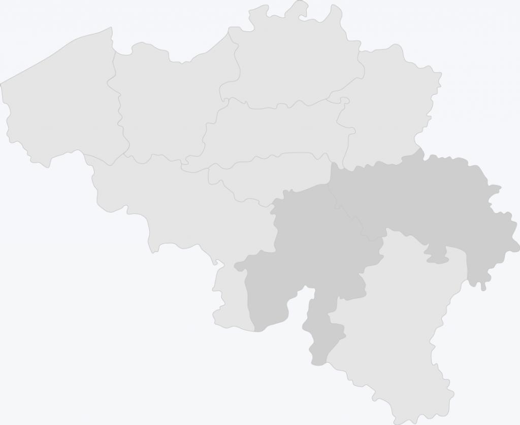 Kaart van België met Namen en Luik geselecteerd