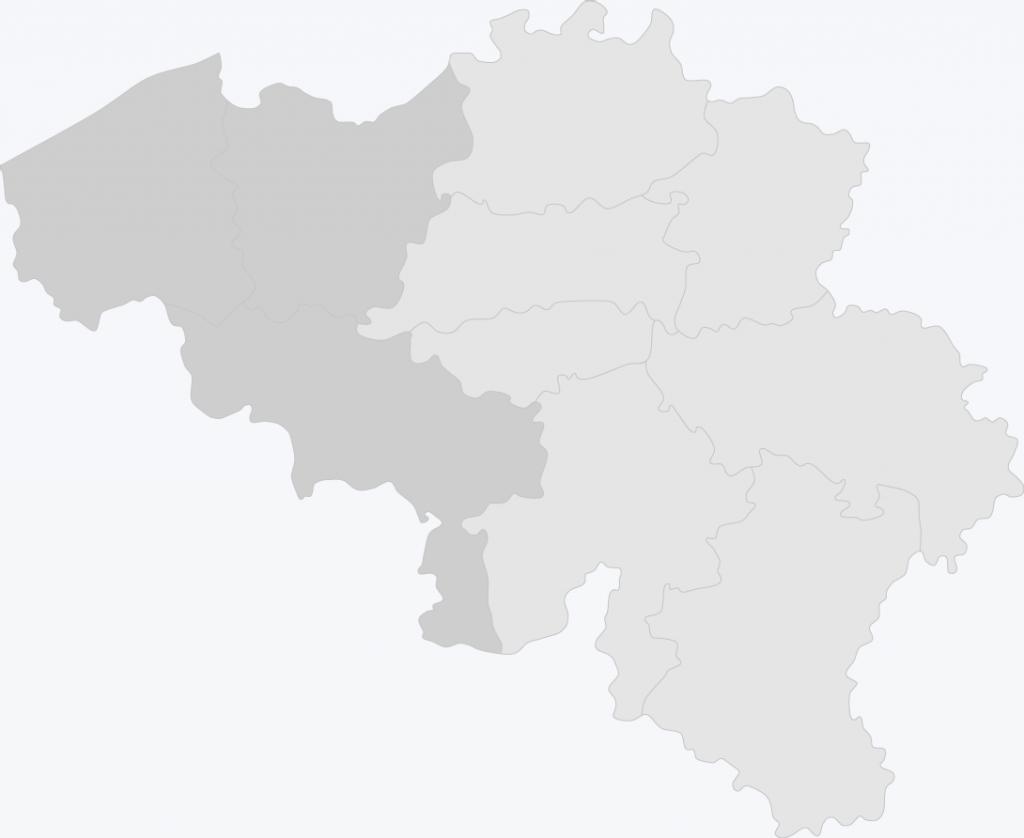 Kaart van België met West-Vlaanderen, Oost-Vlaanderen en Henegouwen geselecteerd